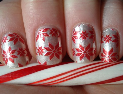 Sally Hansen Real Nail Polish Strips Snow Bunny Snowflake Holiday Candy Cane Manicure