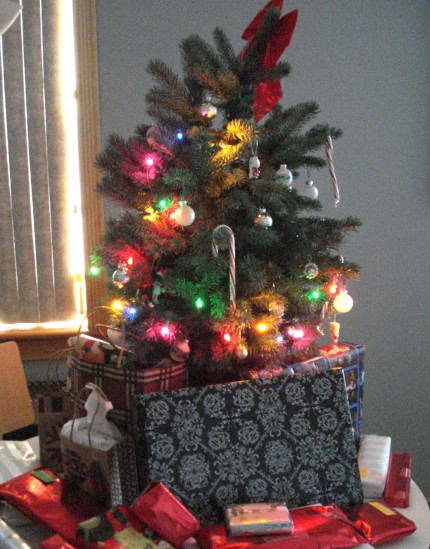 Christmas Tree with Presents Merry Holidays