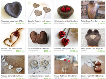 I Love Etsy Craft Handmade Valentine Love Treasury Jewelry Household