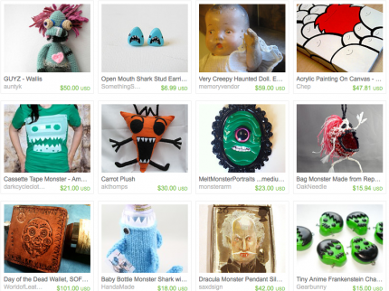 Monster Mash Etsy treasury handmade creepy halloween cute crafts